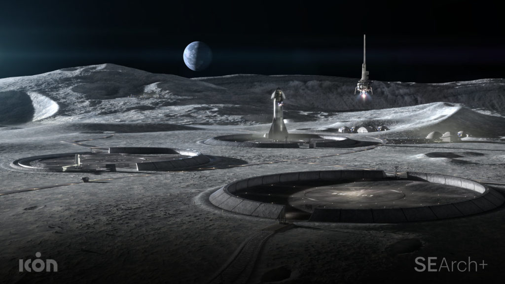 ICON Project Olympus 3D Print House on the Moon Concept Render 3. Image credit SEArch