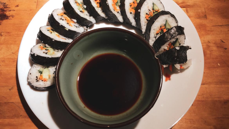 Making Vegetarian Sushi Maki Rolls