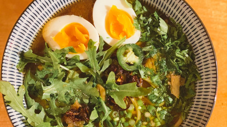 Arugula n Eggs Miso Ramen