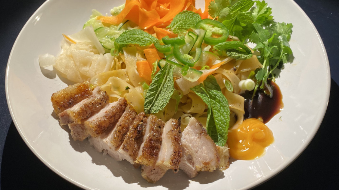Deconstructed Banh mi with crackling anise pork