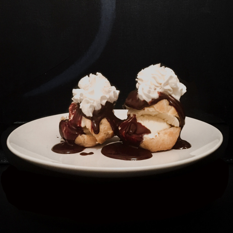 The crafting of chocolate profiterolles