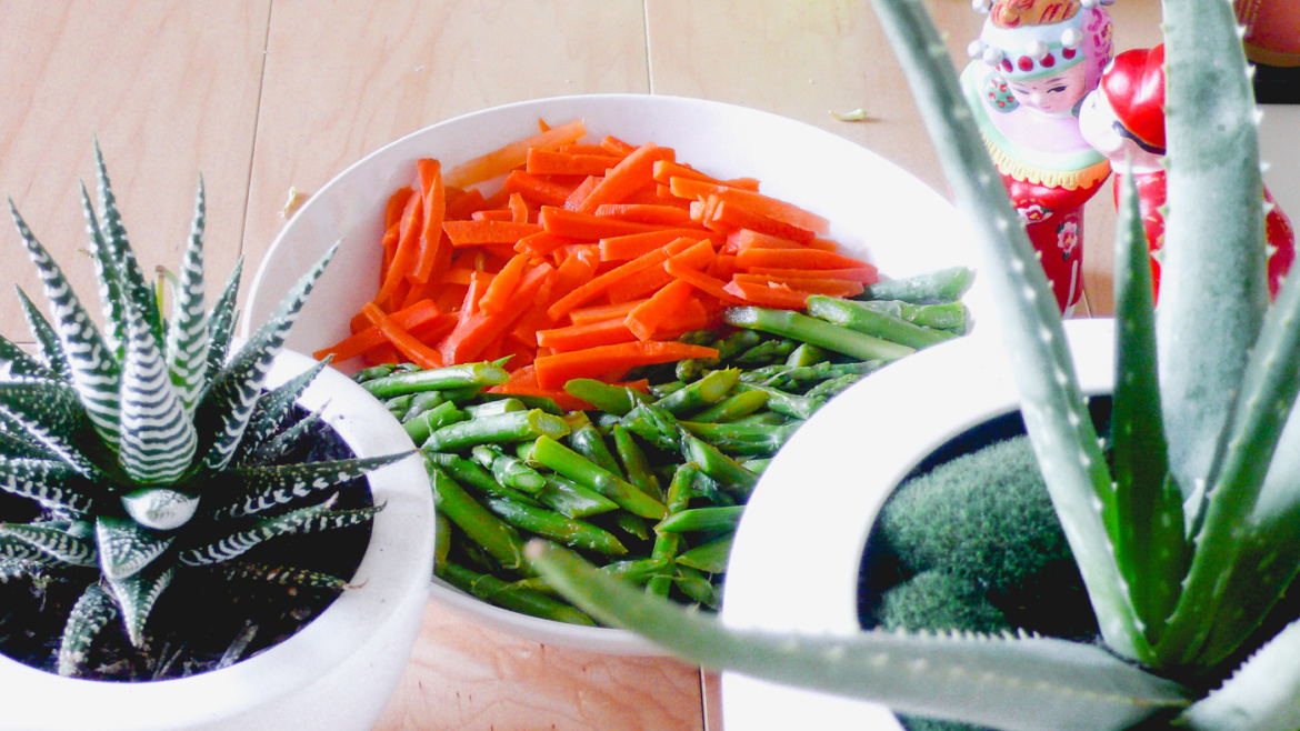 Carrots and Aspargus with Walnut Miso Dressing