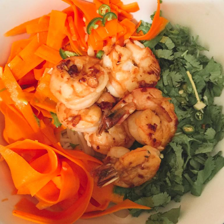 Shrimps and Pickled Carrots Lemongrass Rice Noodles Salad